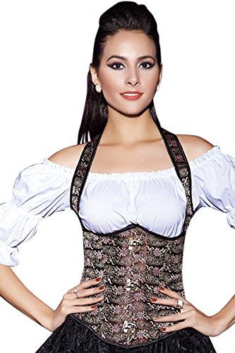 r-dessous Neckholder Unterbrust Korsett Schnür Taillen Corsage Trachten Mieder Bluse Dirndl Corset Party Mode Groesse: XL -