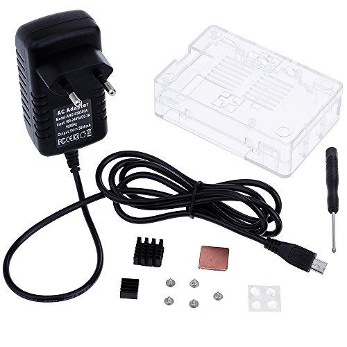 51G6HULulXL - Zacro 3-EN-1 Kit - Kit para Raspberry Pi 3 Modelo B. Caja, Cargador y disipador de Calor Incluido