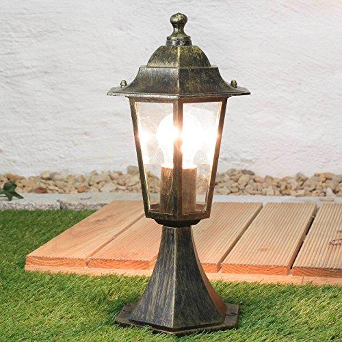Rustikale Außen Sockelleuchte PARIS Gold Antik E27 IP44 Außenlampe Stand Pfeiler Garten Beleuchtung