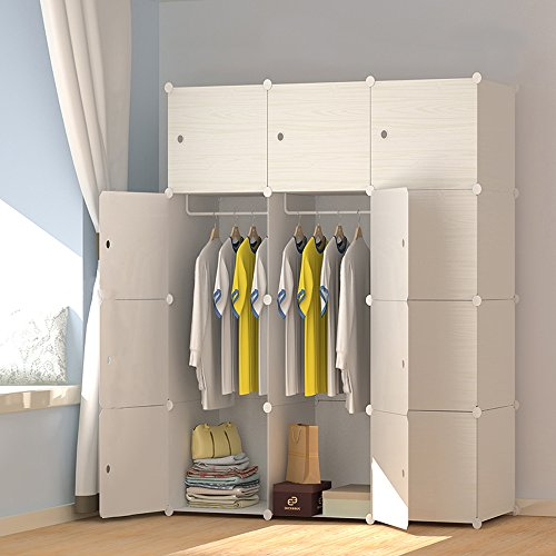 PREMAG Portable plastic wooden wardrobe, modular to save space, cubes organizer(12-Cube)