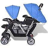 Vislone Geschwister Zwillings - Kinderwagen aus Stahl + Oxfordgewebe, für Babys und Kleinkinder, Regenschutzhaube, ab Geburt nutzbar
