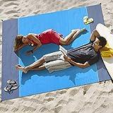Merisny Coperta da Spiaggia, Tappetino da Picnic, Ultra Large(210 * 200cm) Anti Sabbia Portatile Impermeabile con Reticule e 4 Picchetti Fixed per Picnic, Spiaggia, Escursionismo, Campeggio e Altro