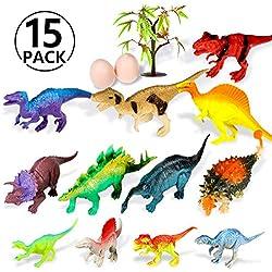 Yosemy Dinosaurios de Juguete, 15 Piezas de Juguete de Mini Dinosaurio, Figura de Dinosaurio Plástico para Niños DE 3-6 Años,Dinosaurio Jurásico Mundo Dinosaurio de Construcción de Juguete
