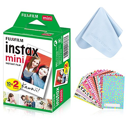 Fujifilm Instax Mini Instant Film Twin Pack (White) with Tangible Creation Microfiber Cleaning Cloth & Assorted Colorful Decoration Stickers for Fujifilm Mini 8 & Mini 9 Cameras (20 Film Sheets)