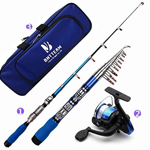 BNTTEAM Mulinello da pesca e asta combos telescopica portatile resistente al 99% al carbonio sea fishing rod reel + esche artificiali + set di lenza da pesca
