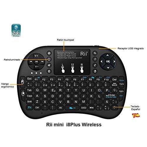 51GWC8cZOHL - (Actualizado, Retroiluminado) Rii i8+ Mini teclado inalámbrico 2.4Ghz con touchpad integrado, retroiluminación Led y batería recargable de Litio-IO
