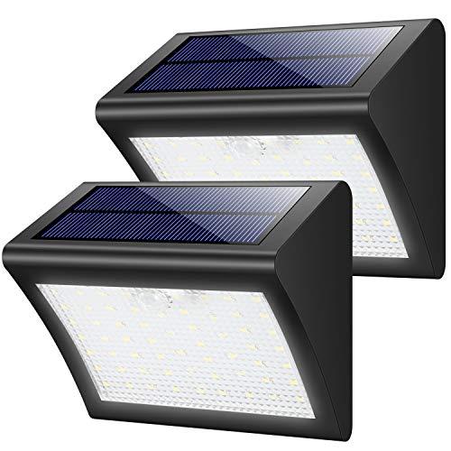 Yacikos Solarleuchten Außen 60 LED Solarlampe mit Bewegungsmelder Solar Wandleuchte Solarlicht Wasserdichte Solar Beleuchtung 3 Modi Solarbetriebene Kabelloses Sicherheitslicht für Gärten(2 Stück )