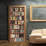 XIAOXINYUAN 3D Porta Adesivo Simulazione Libreria Fai da Te Rimovibile Wall Sticker Murales Carta da Parati per Camera da Letto Porta Casa Natale Decor 90 × 200 Centimetri