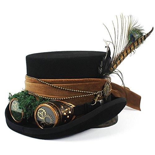 The only cool girl Moda Moda Apuesto Sombrerero Loco Sombrero de Pirata Sombrero de Copa con Gafas Steampunk Sombrero de Copa Steampunk Fresca (Color : Negro, tamaño : 57cm)