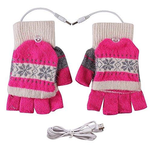 Fletion, guanti riscaldati, con USB 2.0, guanti invernali senza dita, guanti a manopola, da donna,...