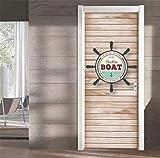 Letusit DIY 3D Sticker Porte Papier Peint, HD Porte en Bois De Style Nautique Trompe l'oeil Effect Décoration Mur Salon Cuisine Chambre Salle De Bain 37.4x84.6cm (Personnalisable Autres Tailles)