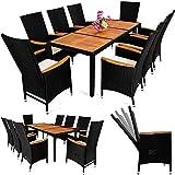 Deuba Poly Rattan Sitzgruppe 8+1 Schwarz 7cm Dicke Auflagen Tisch & Armlehnen aus Holz Neigbare Lehne Gartenmöbel Set