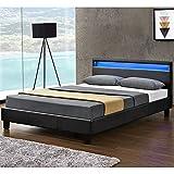 ArtLife Polsterbett Verona 120×200 cm schwarz   Bettgestell Holz inkl. LED-Beleuchtung, Kunstleder & Lattenrost   Einzelbett Kunstlederbett Bett