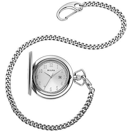 Bulova orologio da tasca al quarzo da uomo in acciaio INOX, colore: Bianco (Model: 96B270)