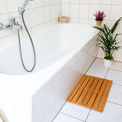 Relaxdays sortie de douche en bois de bambou salle de bain for Tapis de bain en bois de bambou
