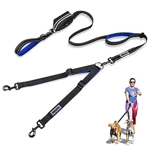 YOUTHINK Hunde Leine Doppelleine für 2 Hunde Goße Kleine Hunde bis 80kg mit Reflektierende Nähte und 1 Tasche für Kotbeutel Länge 2m