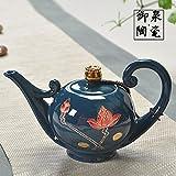 Tea Set-Filtro de cerámica teteras Vintage One-Pot poco tetera innovador juego de té,Danfeng macetas de flores de loto azul