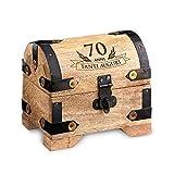 Forziere del tesoro con incisione per i 70 anni   Piccolo   Chiaro   Scrigno in Legno   Portagioie   Salvadanaio   Contenitore in Legno   Idea Regalo di Compleanno Divertente e Originale   10 cm x 7 cm x 8,5 cm
