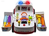 Ambulance Rescue Vehicle Doctors Set - WISHTIME Pretend Play Toy Rescue Vehicle Bump and Go with Various Medical Equipment, Lights Music and Medical Sounds For Children Kids