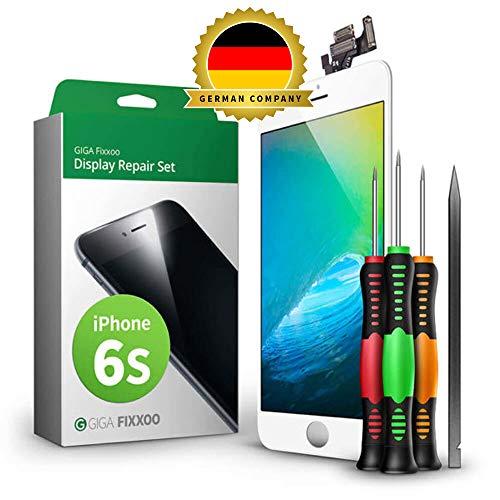 GIGA Fixxoo Display Set kompatibel mit iPhone 6s, Reparaturset Komplett Weiß, Ersatz Bildschirm, Retina LCD Glas mit Touchscreen, inkl. integrierte Frontkamera & Werkzeug