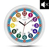 Reloj de pared infantil (diámetro de) una vez 30,5 cm reloj de pared infantil que hace Relojes de presión y un diseño alegre de animales con - Visualización de la hora del día el aprendizaje