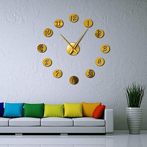 ZYQXI Reloj Pared Reloj de Pared DIY Grande Reloj de Pared silencioso 3D Moderno Reloj con números de Espejo Pegatinas de acrílico para Decoraciones de Oficina en casa Regalo-47inch Dorado