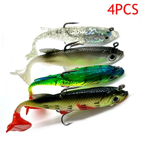 Hrph, esca morbida da pesca, pesce finto con testa in piombo, amo e coda a T, 8 cm, 14 g, 4 pezzi