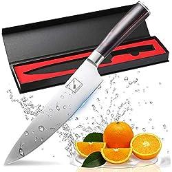 Coltello da Chef, Imarku professionale da 20 cm, carbonio di alta qualità In Acciaio Inossidabile , manico ergonomico marrone