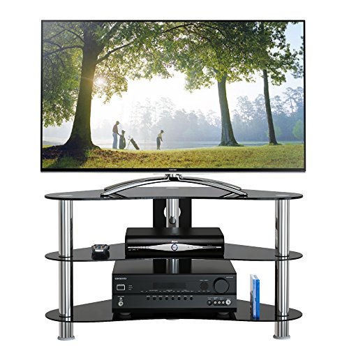 1home Mobile Porta TV di Vetro Nero per LCD LED e Plasma TV da 37' a 42' GT7