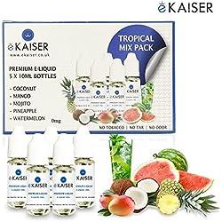 Ekaiser 5 X 10ml E-Flüssigkeit Tropisch Pack | Kokosnuss | Ananas | Mojito | Mango | Wassermelone | Spezielle neue Formel für Dampf entwicklung und Geschmack treffer mit nur hochwertige Zutaten | Hergestellt für E-Zigaretten E-Shisha