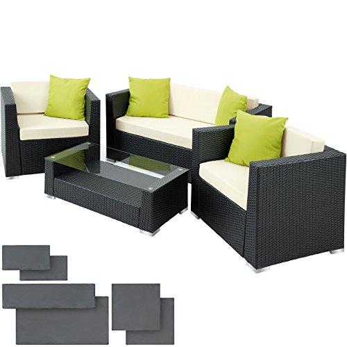 TecTake Set di mobili rattan alluminio arredamento giardino +2 Set di rivestimenti per cusci + 4...