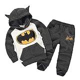 KIDSHOODIE Felpe con Cappuccio di Batman Fumetto dei Bambini Maglioni con Cappuccio Manica Lunga Tuta Sportiva per Bambini Grey-100cm
