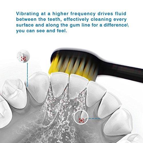 Brosse à Dents Électrique Rechargeable Brosse à Dents Sonique 3 Modes Intelligente Minuteur Intégré avec Assainisseur UV & 4 Brosse de Recha... 25