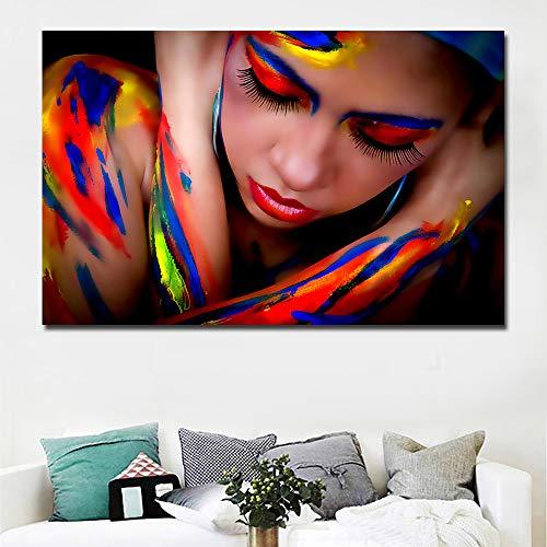 NIMCG Stampe HD Arte Colorata Ragazza Pittura Ritratto Pittura su Tela Stampe su Tela Poster per...