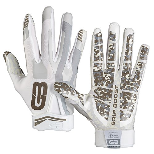 GRIP BOOST Stealth Football Gloves PRO Elite (Bianca, Youth Small)