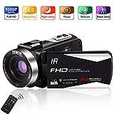 Videokamera 1080P 30FPS Camcorder Full HD Tragbare IR-Nachtsicht-Videokamera 24,0 MP Unterstützt Digitalkamera mit Zeitraffer- und Bewegungserkennung und 3-Zoll-LCD-Fernbedienung