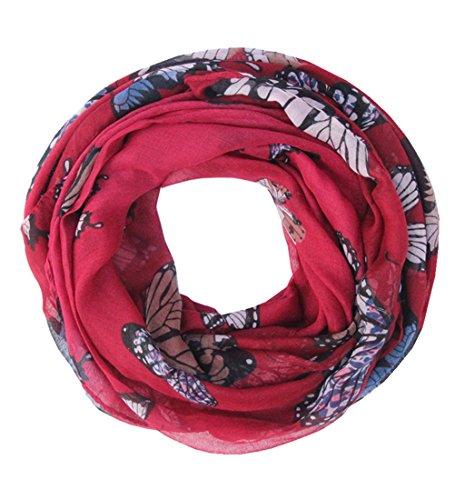 Saferin pañuelo de estampa mariposas Bufanda para Mujer (Burgundy-2)