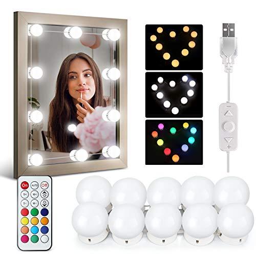 IDESION Luci da Specchio LED 12 colori 32 modalità luci specchio make up usb 10 livello lumisità...