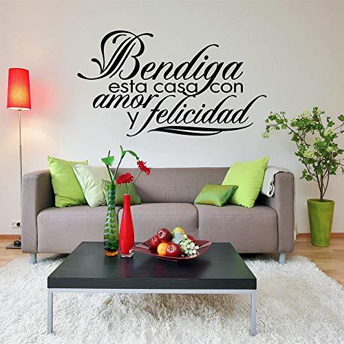 yiyiyaya Famiglia Casa Adesivo Parole Spagnole Bendiga Esta Casa con Y Felicidad PVC Wall Art...