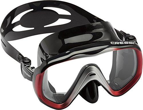Cressi Liberty, Maschera per Immersioni, Apnea e Snorkeling, Disponibile in Versione Due/Tre Vetri Unisex Adulto, Nero/Rosso, Taglia Unica