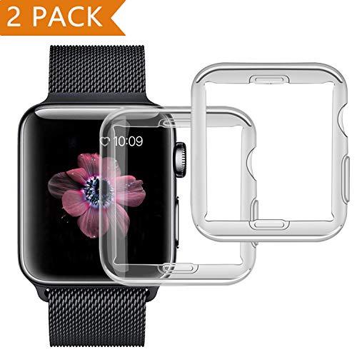 [Aggiornato a 2 pezzi ] Cover per Apple Watch, PEMOTech 42mm Custodia Protettiva Trasparente Ultrasottile Di Gel In Silicone TPU 0,3 mm Case per Apple Watch Series 2 / Series 3 (42mm)