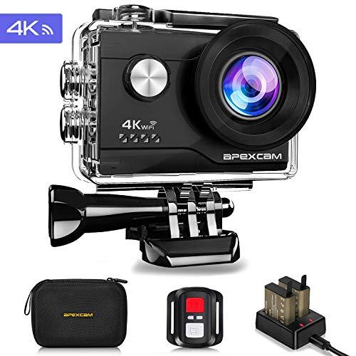 Apexcam 4K WiFi Action Cam 16MP Ultra HD Macchina Fotografica Sportiva Impermeabile 40M 2 Pollici Schermo 2.4G Telecomando 170° Grandangolare 2 Batterie e Kit di Accessori