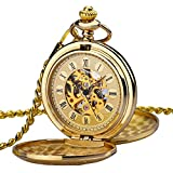 KZKR Golden Sliver Bronze Men Women Pocket Watch Full Double Hunter Mechanical Pocket Watches Engraved Roman Numerals Gold Hand Wind Pocketwatch for Elder (Golden Mechanical Pocket Watch) (Golden)