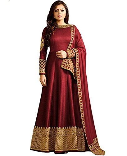 MONIKA SILK MILL Women's Georgette Heavy Embroidered Anarkali Salwar Suit Dress (MSM_LTN104-1401,Red,Free Size)