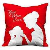 Indibni Best Mom Ever Cushion Cover 12x12 with Filler - Red Gift for Mummy Mom Mother on Birthday Anniversary Mothers Day