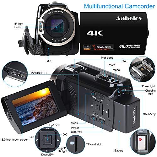 Caméscope 4K Vlogging Caméra Vidéo Ultra HD Wi-Fi Appareil Photo Numérique 48MP 3'' écran Tactile Vision Nocturne 16X Enregistreur de Zoom N... 28