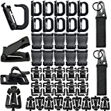 42 PCS Clip De Vitesse Tactique Molle Sangle Attachements Pour Sac À Dos Tactique Gilet Molle Porte-clés D-anneau De Verrouillage Tube De L'eau Clip Web Dominator Boucle Avec Chaîne Élastique (Noir)