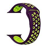 ZRO Smartwatch Cinturino, Morbido Silicone Sport Cinturini di Ricambio per Apple iWatch Serie 2/ Serie 1 42mm S/M, Porpora/Verde