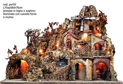 artigianale Presepe MOD. PWL10 ruscello, Mulino, Forno luci Misura 75x58x70h cm