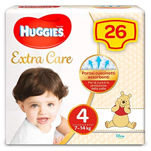 Huggies Pannolini Extra Care, Taglia 4 (7-14 Kg) - Confezione da 26
